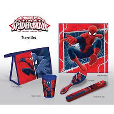 Marvel ULTIMATE SPIDERMAN 5pc Travel Set - Towel Cup Toothbrush Cover Brush Bag