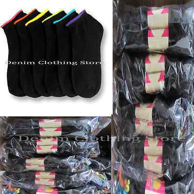 Wholesale Lots Women Black Spandex Ankle Quarter Low Cut Socks Dozen 6-8 9-11