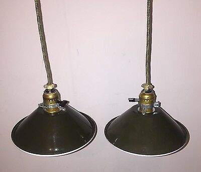Industrial Hanging Pendant Lights NOS Military Green Shades Expertly Wired Pair