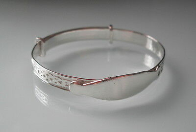 Brand New Sterling Silver Babies Celtic Christening Expanding Bangle & Id Plate