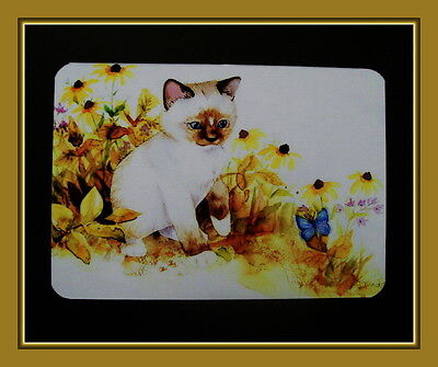 Siamese Kitten Among The Daisies With Butterfly Refrigerator Magnet