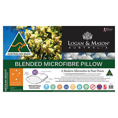 Logan & Mason Microfibre Standard Pillow Machine Wash Tumble Dry Non Allergenic