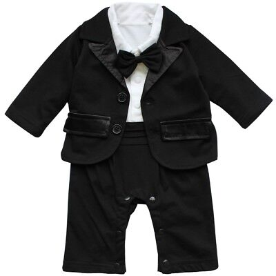 Baby Boys Gentleman Romper Wedding Formal Tuxedo Suit Birthday Party Clothes