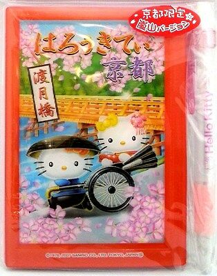 Hello Kitty Notebook & Mechanical Pencil 3D Plastic Cover Kyoto Japan Sanrio New