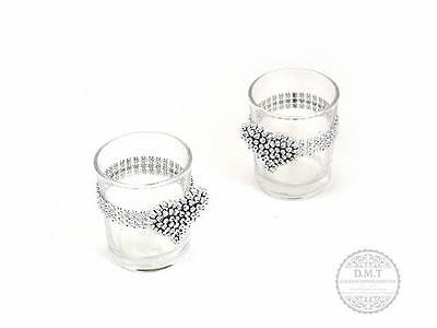 15x 6.5cm Wedding Diamonte Glass Votive Tealight Tea Light Candle Holders Bulk