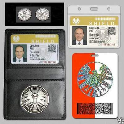 Agents S.H.I.E.L.D Shield Badge In Holder Phil Coulson's 2 Cards With Free Coin