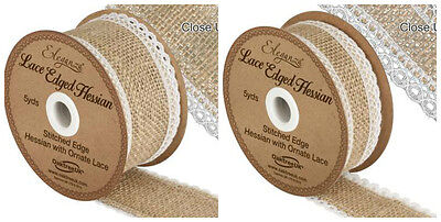 LACE edge HESSIAN natural/white ribbon - choice of width 1m