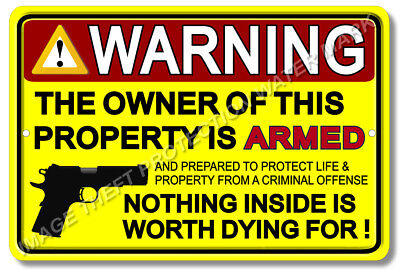 "3 Lot Pistol Gun Warning Business Home Security Sign Aluminum 8"" x 12"" Yellow"