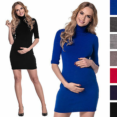 Happy Mama Women's Maternity Stretchy Knitted Mini Dress Roll Neck Bodycon. 125p
