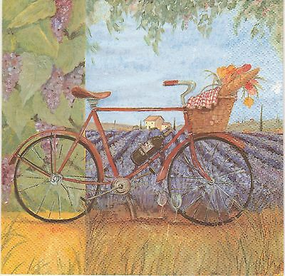 Lot de 2 Serviettes en papier Provence Lavande Vélo Decoupage Collage Decopatch