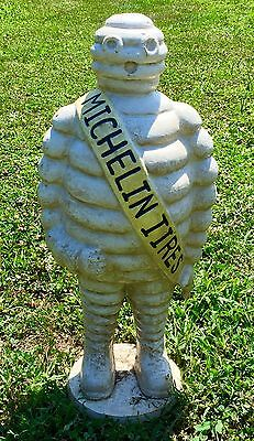 "Michelin Man Bibendum Vintage Cast Iron 23"" Tall Advertising Statue"
