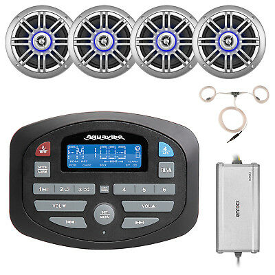 "400W  Marine Amplifier, 6.5"" Speakers, Pyle Boat Bluetooth USB AUX Radio/Antenna"
