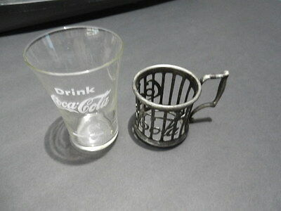 Coca Cola Glass and Pewter Vintage Glass RARE Reproduction Made in 1973