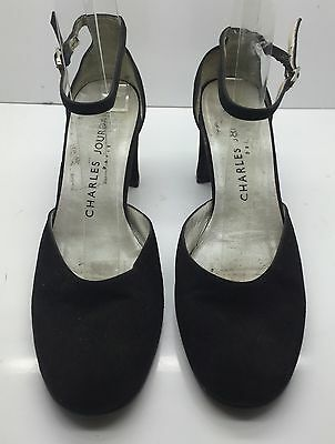 cb35316c33d3 CHARLES JOURDAN Paris Black Suede Leather Ankle Strap Mary Jane Heels 6M  Italy!