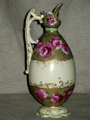 """VINTAGE ART DECO PERIOD PITCHER EWER w/RED ROSES 8 1/2"""" TALL, NICE!"""