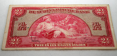 Foreign Currency Collection - Notes Bills Old 1942 Suriname Money 2 1/2 Gulden