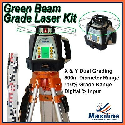 New Digital Green GRADE Auto Self Level Rotary Laser level + Tripod and Staff