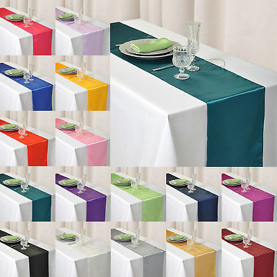 """Satin Table Runner Wedding Party Event Banquet Supply Decoration 12"""" x 108"""""""