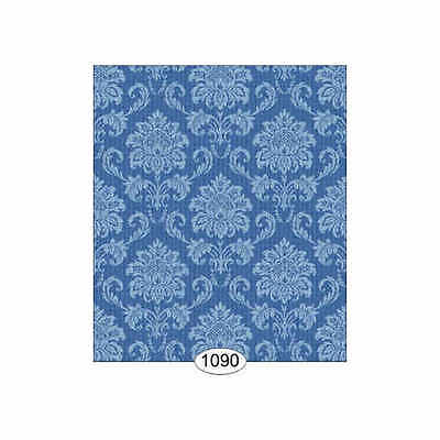 Dolls house 12th scale Wallpaper: Cottage Damask - Blue