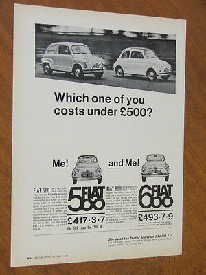 1967 Fiat 500 and 600 original UK full page advertisement