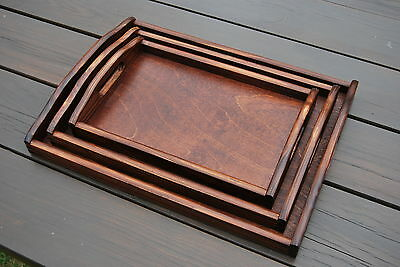 Set Of 3 Different Size Wooden Trays In Dark Brown Color