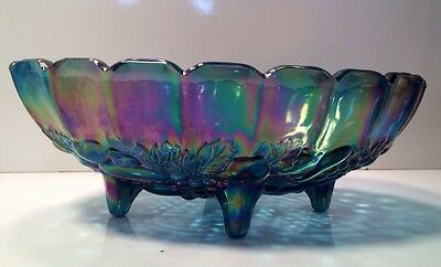 """Stunning Vintage Op Art Blue Carnival Glass Fruit Bowl 12"""" by Indiana Glass MINT"""