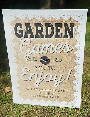 PERSONALISED hessian & lace style lawn GARDEN GAMES wedding party print sign