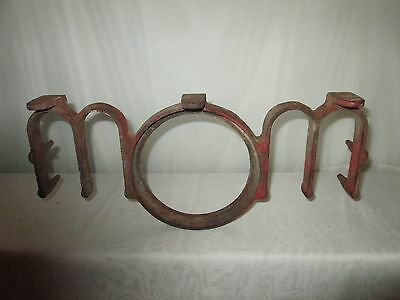 Cast Iron old red paint milkd sterilizer frame Letters MOM accent project piece