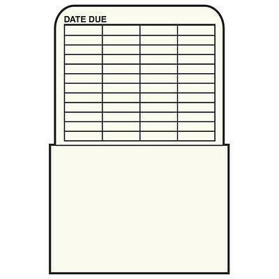 Book Processing Plain Back Book Pockets- No Date Grid- 500/Box