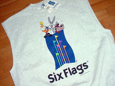 Vtg Nwt Warner Bros Six Flags Theme Park Sweatshirt-Vest Bugs/daffy/tweety Xxl