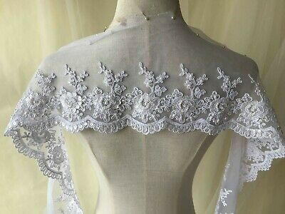 Beaded Bridal Lace Trimming Embroidered Trim Ribbon Wedding Floral Sewing Edging