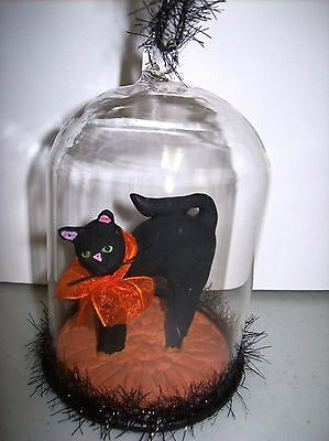 Halloween Standing Black Cat Figure with Orange Fabric Bow in a Glass Dome Orn.