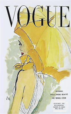 A2 SIZE  french umbrella  vogue cover 1950 canvas print art painting vintage
