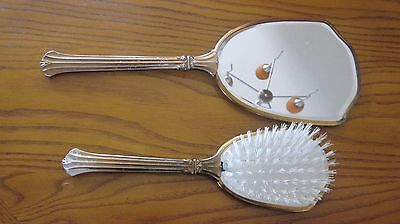 Vintage 2 piece Vanity Set - Mirror and Matching Brush Copper W/ metal handles