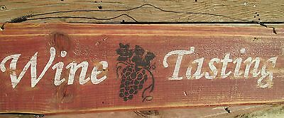 """""""Wine Tasting"""" handmade antique style sign,reclaimed wood,kitchen,home decor"""