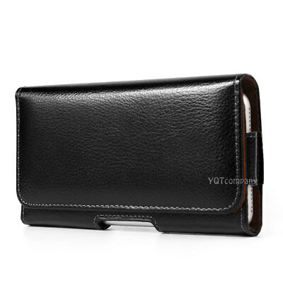 """Horizontal Black Leather Pouch Holder Belt Clip Case For iPhone 6s 7 8 Plus 5.5"""""""