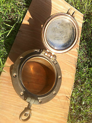 Porthole , Bronze with Hinged Glass & Cover & Dog Original from a Wooden Ketch