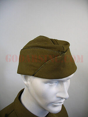 WWII US Army Officer Standard Issue Mustard Garrison Cap 61 Free Shipping
