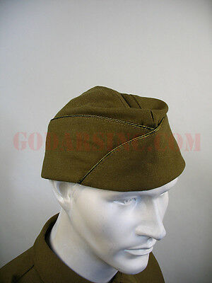 WWII US Army Officer Standard Issue Mustard Garrison Cap 57 Free Shipping