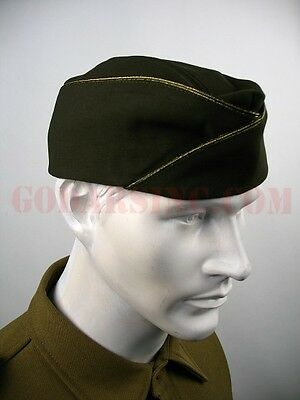 WWII US Army Officer PX Dark Olive Green Gabardine Garrison Cap 57 Free Shipping