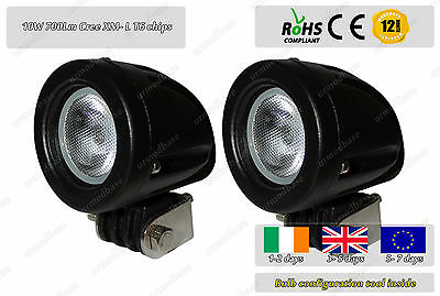 2x 10W Flood Beam CREE Offroad LED Work 4WD Light Lamp 12v 24v Truck Motorcycle