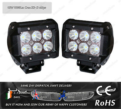 "2x 18W 4"" Combo Beam CREE Offroad LED Work Light Lamp 12v 24v Truck Jeep 4WD"