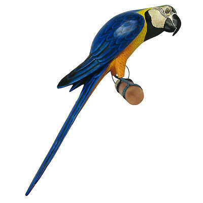 Wooden Parrot Blue Yellow Macaw On Perch 50Cm Hand Painted Albesia Wood Bird