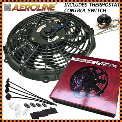 "12"" Aeroline High Power 220w Electric Radiator Cooling Fan + Thermostat Control"