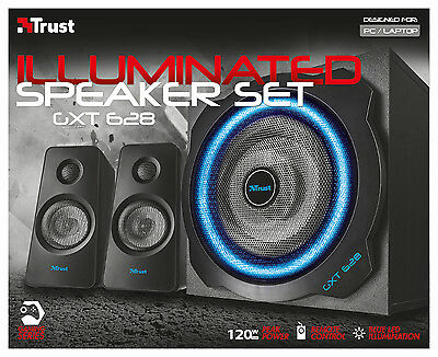Trust 20562 21071 Gxt 628 120W Light-Up 2.1 Speaker Set For Pc Wii Ps3 Xbox 360