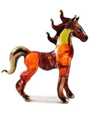 Tiny Crystal Horse Unicorn Hand Blown Clear Glass Art Figurine Animal Collection
