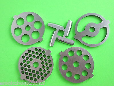 FIVE pc New Knife & Meat Grinder plates for Kitchenaid FGA Mixer attachment