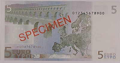 2001 European Union 5 Euros Specimen Crisp Uncirculated Currency Note