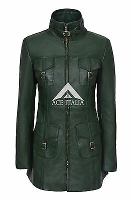 Ladies Leather Jacket Dark Green Gothic Style Fitted REAL LAMBSKIN COAT 1310