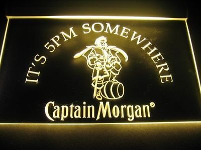 captain morgan Led neon light sign its 5 pm somewhere beer pub beer man cave
